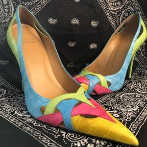 Stuart weitzman alligator embossed multicolor heel